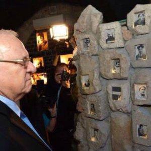 President Reuven Rivlin views an touching exhibit about Hebron's fallen heroes