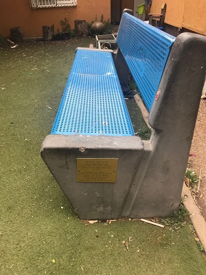 Sponsored benches are endowed with plaques in dedication to donors of the Hebron Fund