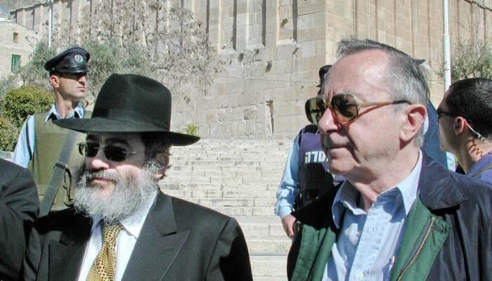 (Photo: Moshe Arens with Jospeh Gutnick in Hebron, 1989. Credit: David Wilder.)